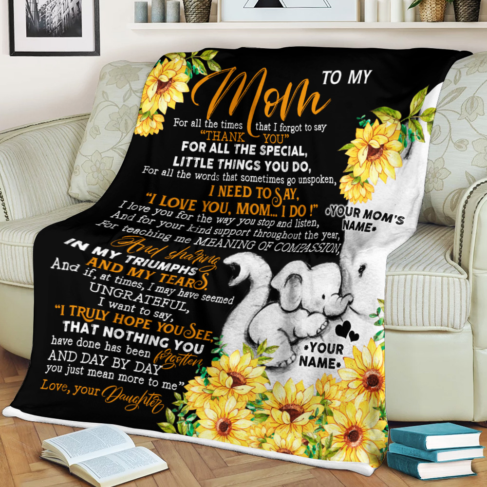 Personalized Lovely Fleece Throw Blanket To My Mom I Need To Say I Love You Pattern 2 Lightweight Super Soft Cozy For Decorative Couch Sofa Bed