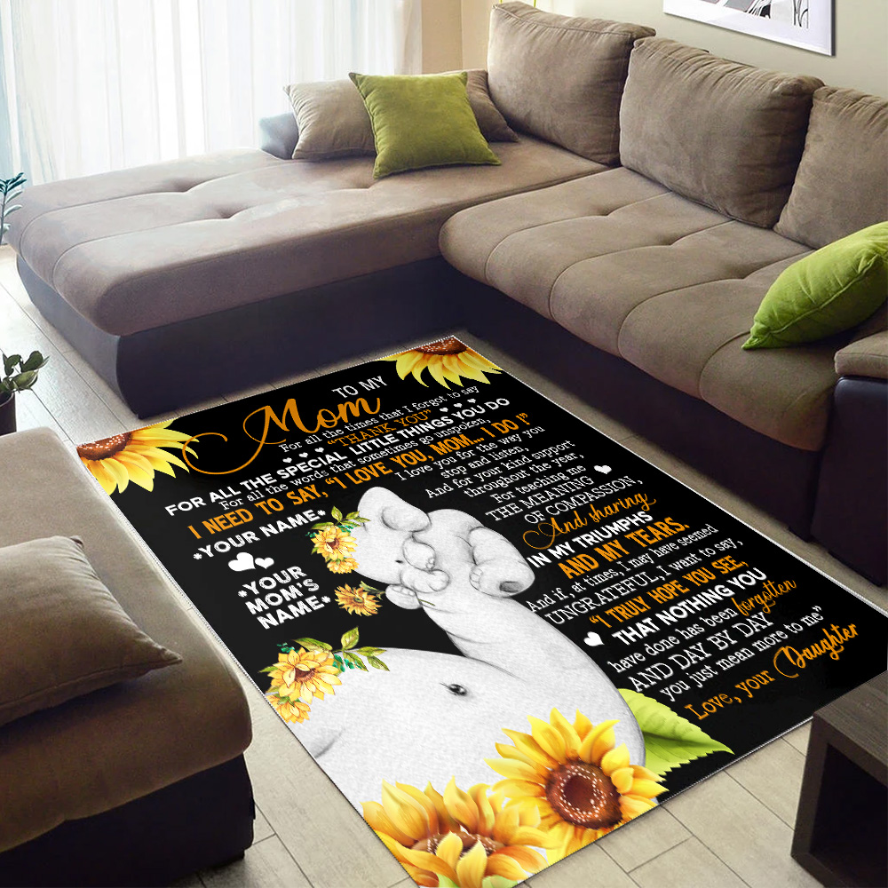Personalized Lovely To My Mom I Need To Say I Love You Pattern 1 Vintage Area Rug Anti-Skid Floor Carpet For Living Room Dinning Room Bedroom Office