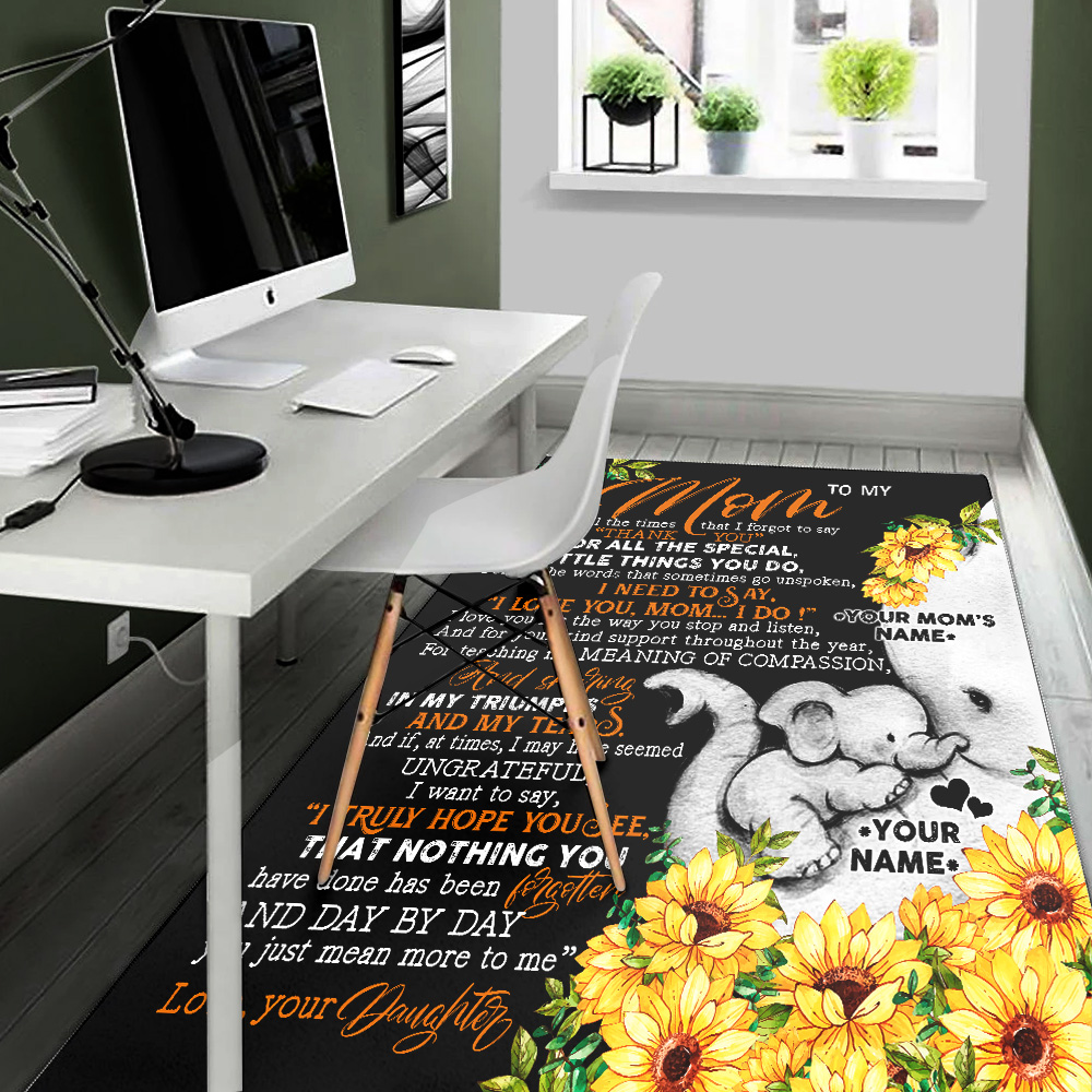 Personalized Lovely To My Mom I Need To Say I Love You Pattern 2 Vintage Area Rug Anti-Skid Floor Carpet For Living Room Dinning Room Bedroom Office