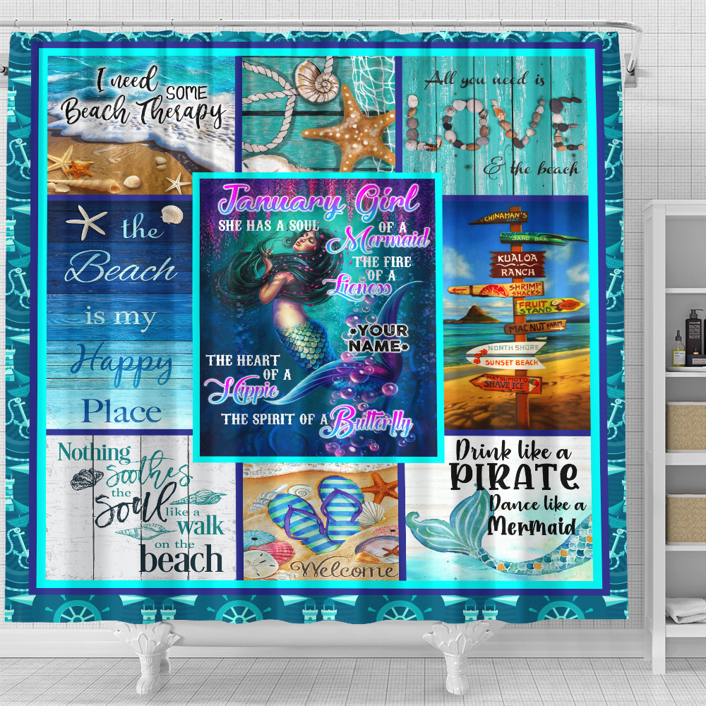 Personalized Shower Curtain January Girl She Has A Soul Of A Mermaid Pattern 1 Set 12 Hooks Decorative Bath Modern Bathroom Accessories Machine Washable