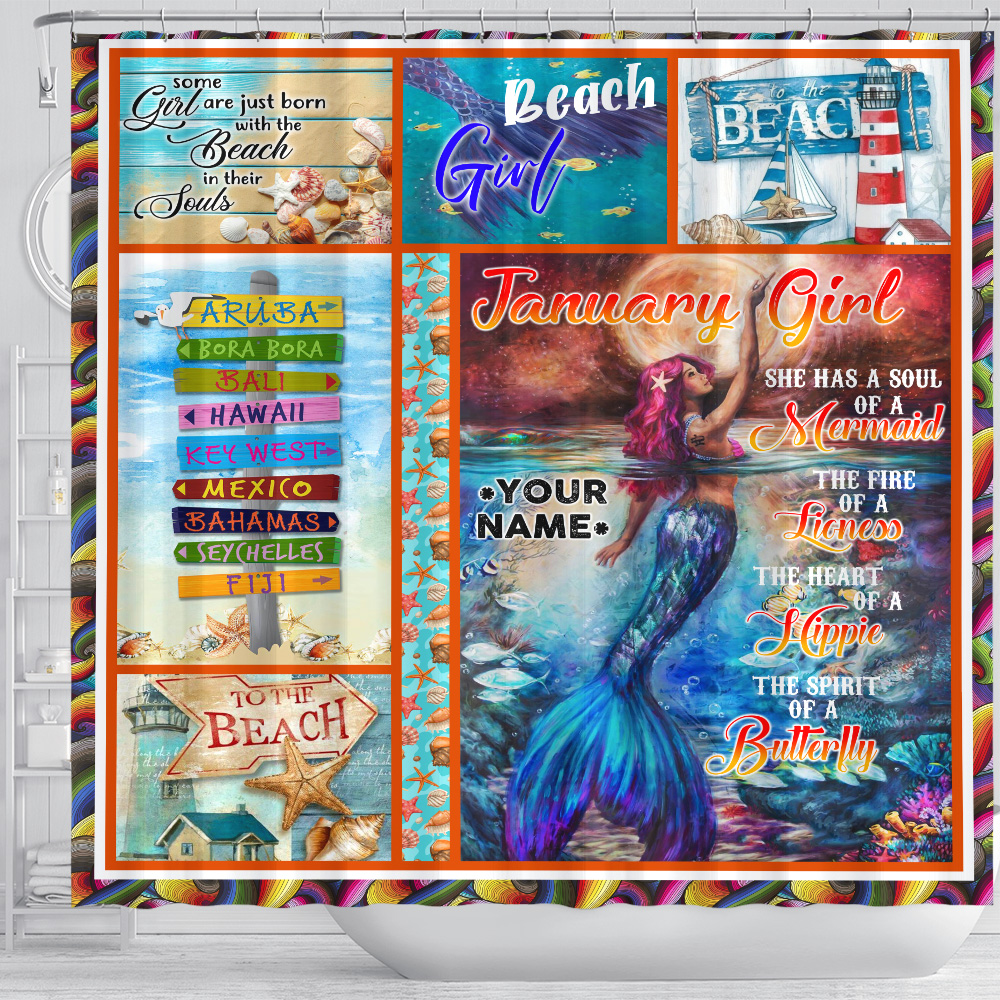 Personalized Shower Curtain January Girl She Has A Soul Of A Mermaid Pattern 2 Set 12 Hooks Decorative Bath Modern Bathroom Accessories Machine Washable