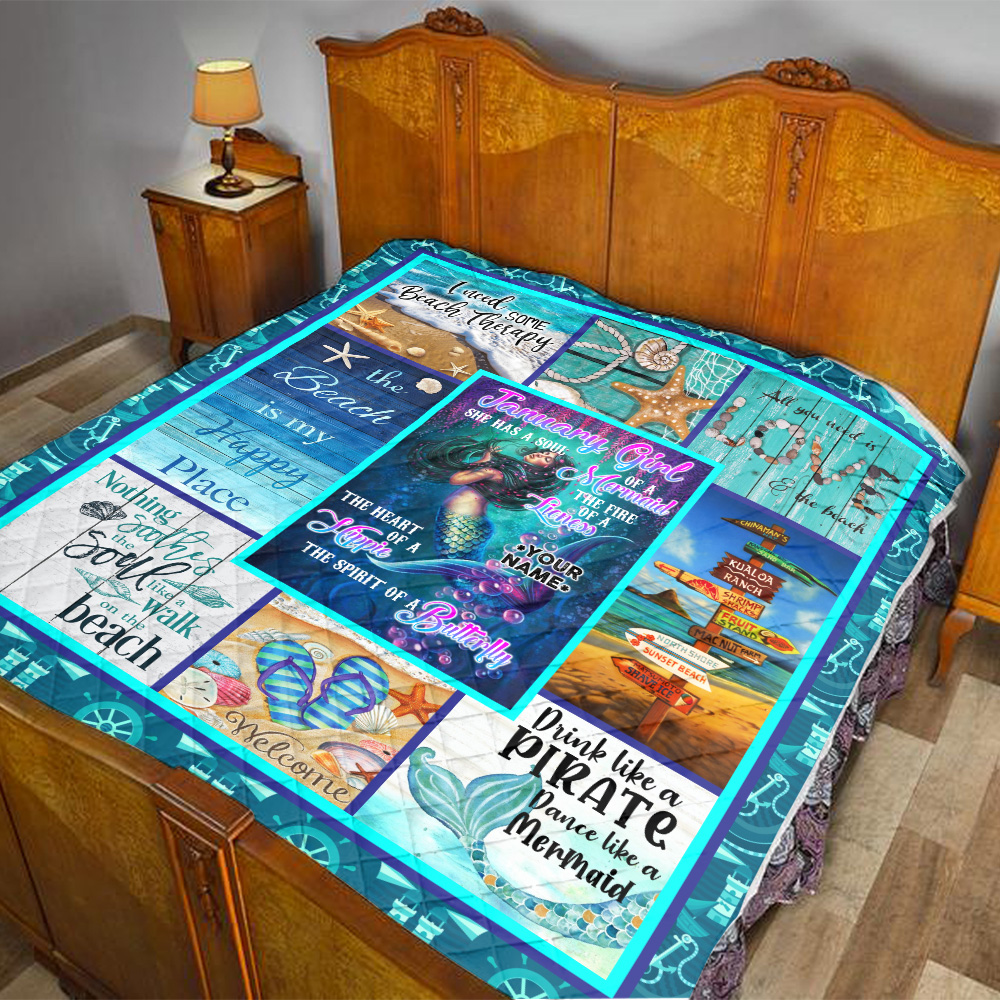 Personalized Quilt Throw Blanket January Girl She Has A Soul Of A Mermaid Pattern 1 Lightweight Super Soft Cozy For Decorative Couch Sofa Bed
