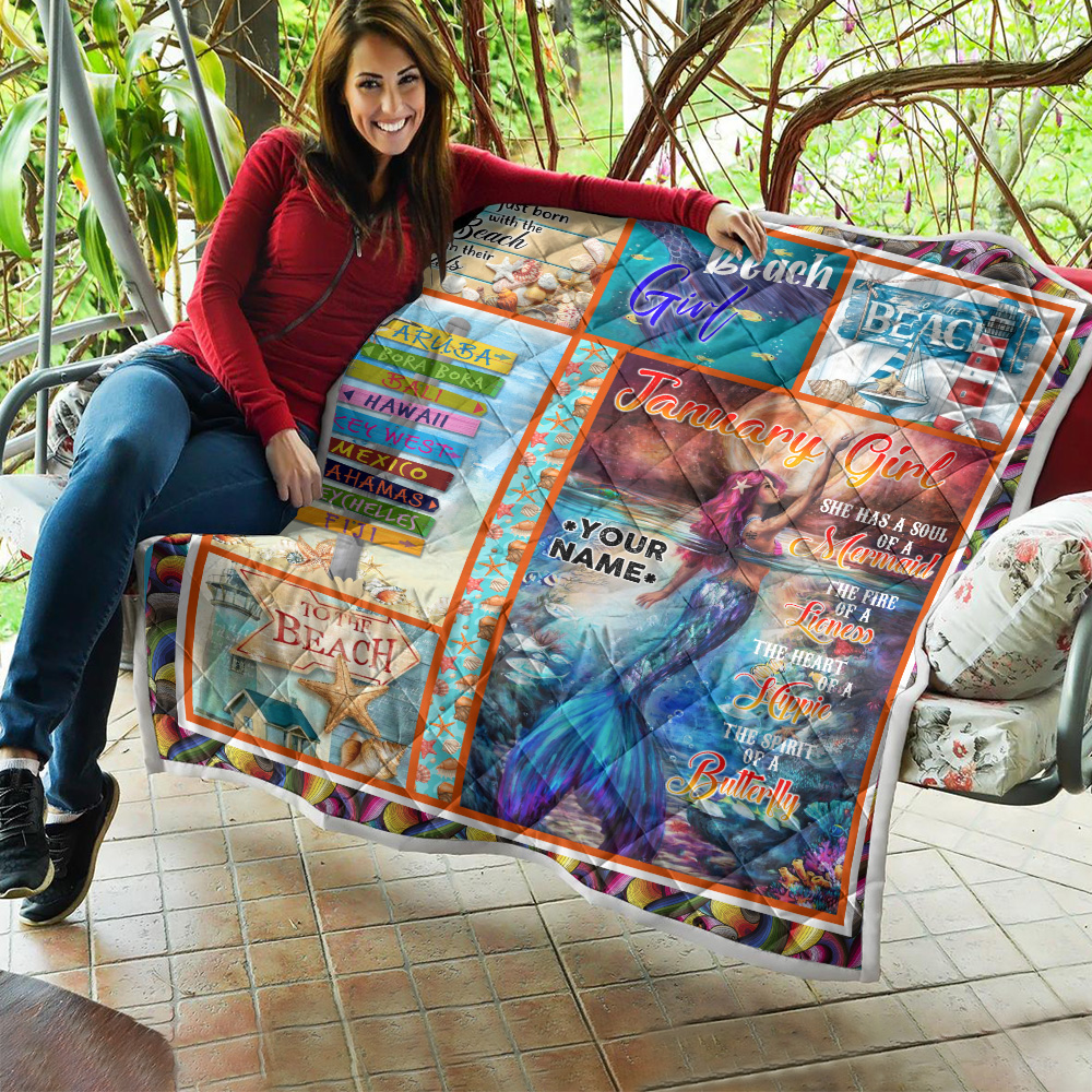 Personalized Quilt Throw Blanket January Girl She Has A Soul Of A Mermaid Pattern 2 Lightweight Super Soft Cozy For Decorative Couch Sofa Bed