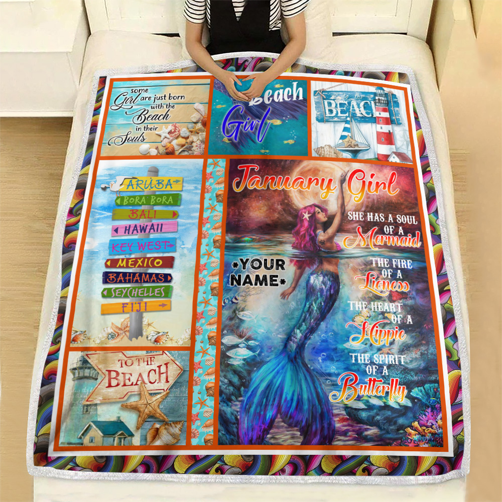 Personalized Fleece Throw Blanket January Girl She Has A Soul Of A Mermaid Pattern 2 Lightweight Super Soft Cozy For Decorative Couch Sofa Bed