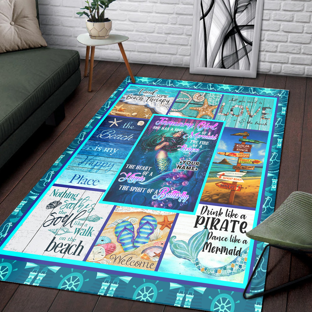Personalized January Girl She Has A Soul Of A Mermaid Pattern 1 Vintage Area Rug Anti-Skid Floor Carpet For Living Room Dinning Room Bedroom Office