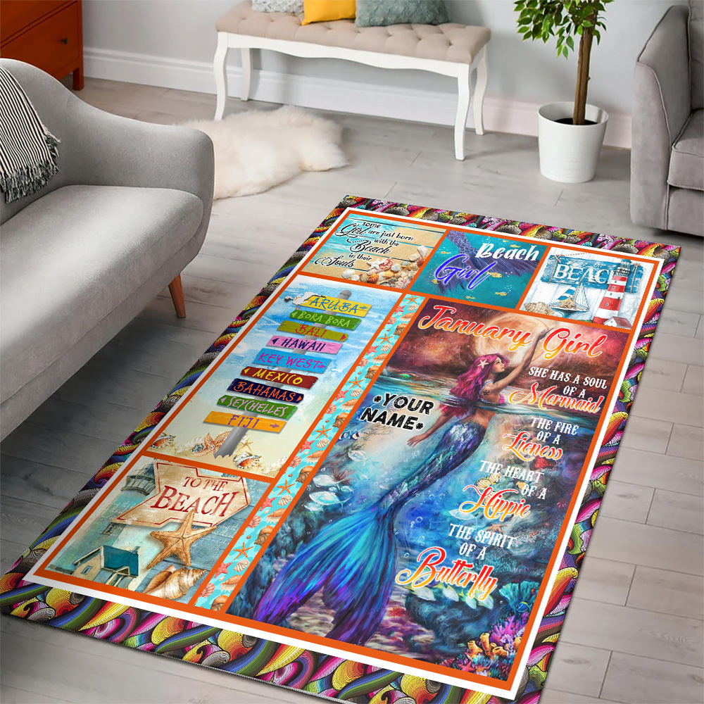 Personalized January Girl She Has A Soul Of A Mermaid Pattern 2 Vintage Area Rug Anti-Skid Floor Carpet For Living Room Dinning Room Bedroom Office