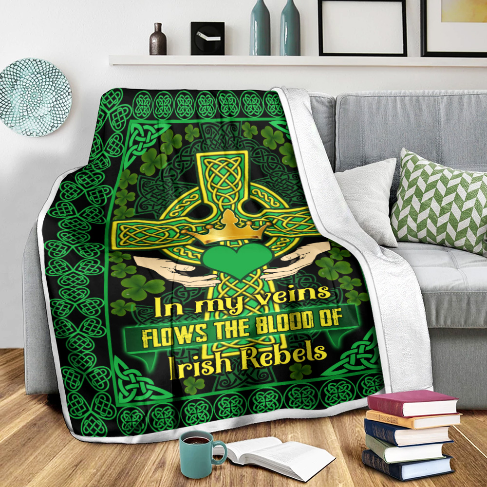 Personalized Lovely Fleece Throw Blanket St Patrick's Day Blood Of Irish Flows In My Veins Pattern 2 Lightweight Super Soft Cozy For Decorative Couch Sofa Bed