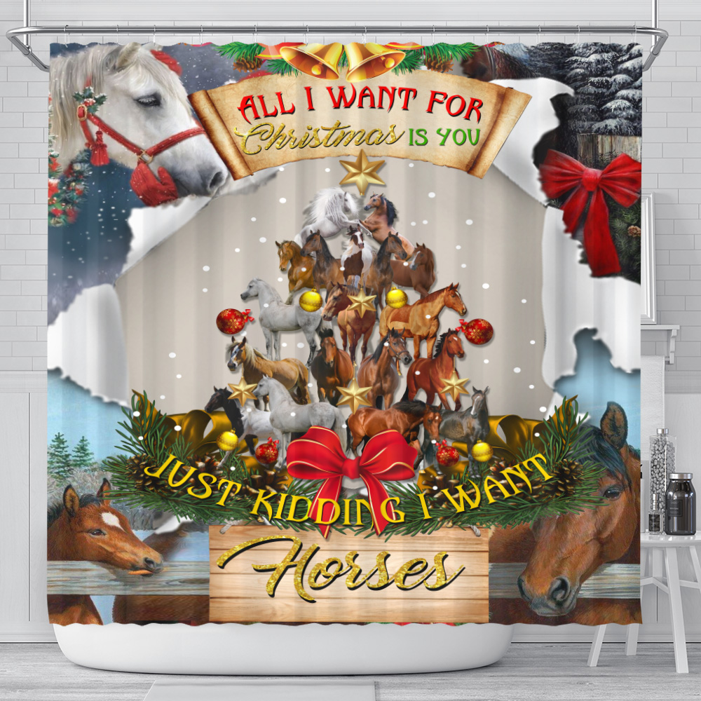 Personalized Shower Curtain 71 X 71 Inch All I Want For Christmas Is You Just Kidding I Want Horses Pattern 1  Set 12 Hooks Decorative Bath Modern Bathroom Accessories Machine Washable