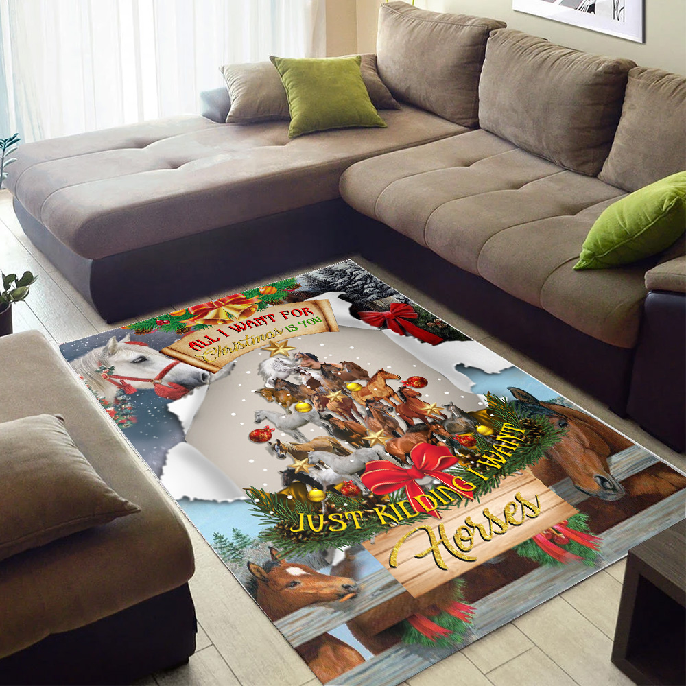 Personalized Floor Area Rugs All I Want For Christmas Is You Just Kidding I Want Horses Pattern 1  Indoor Home Decor Carpets Suitable For Children Living Room Bedroom Birthday Christmas Aniversary