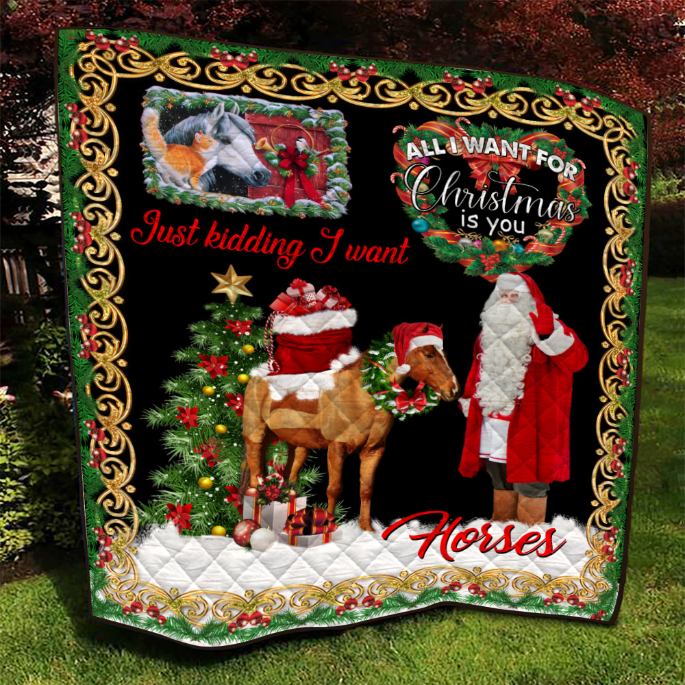 Personalized Quilt Throw Blanket All I Want For Christmas Is You Just Kidding I Want Horses Pattern 2 Lightweight Super Soft Cozy For Decorative Couch Sofa Bed