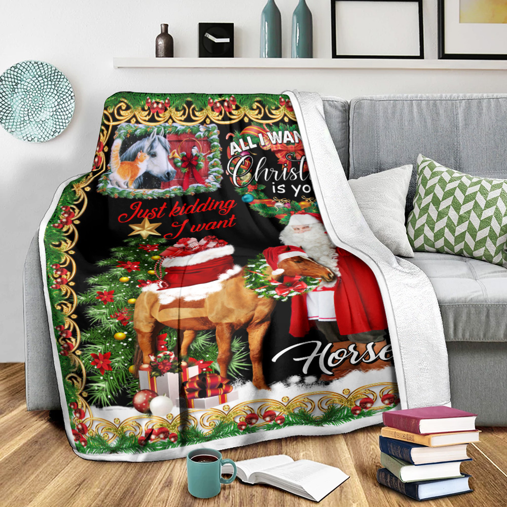 Personalized Fleece Throw Blanket All I Want For Christmas Is You Just Kidding I Want Horses Pattern 2  Lightweight Super Soft Cozy For Decorative Couch Sofa Bed