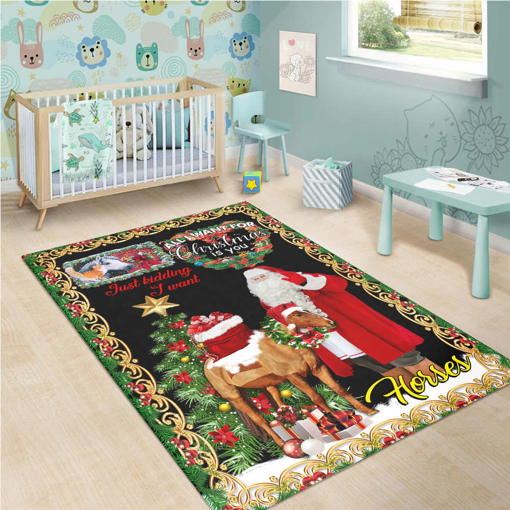 Personalized Floor Area Rugs All I Want For Christmas Is You Just Kidding I Want Horses Pattern 2  Indoor Home Decor Carpets Suitable For Children Living Room Bedroom Birthday Christmas Aniversary