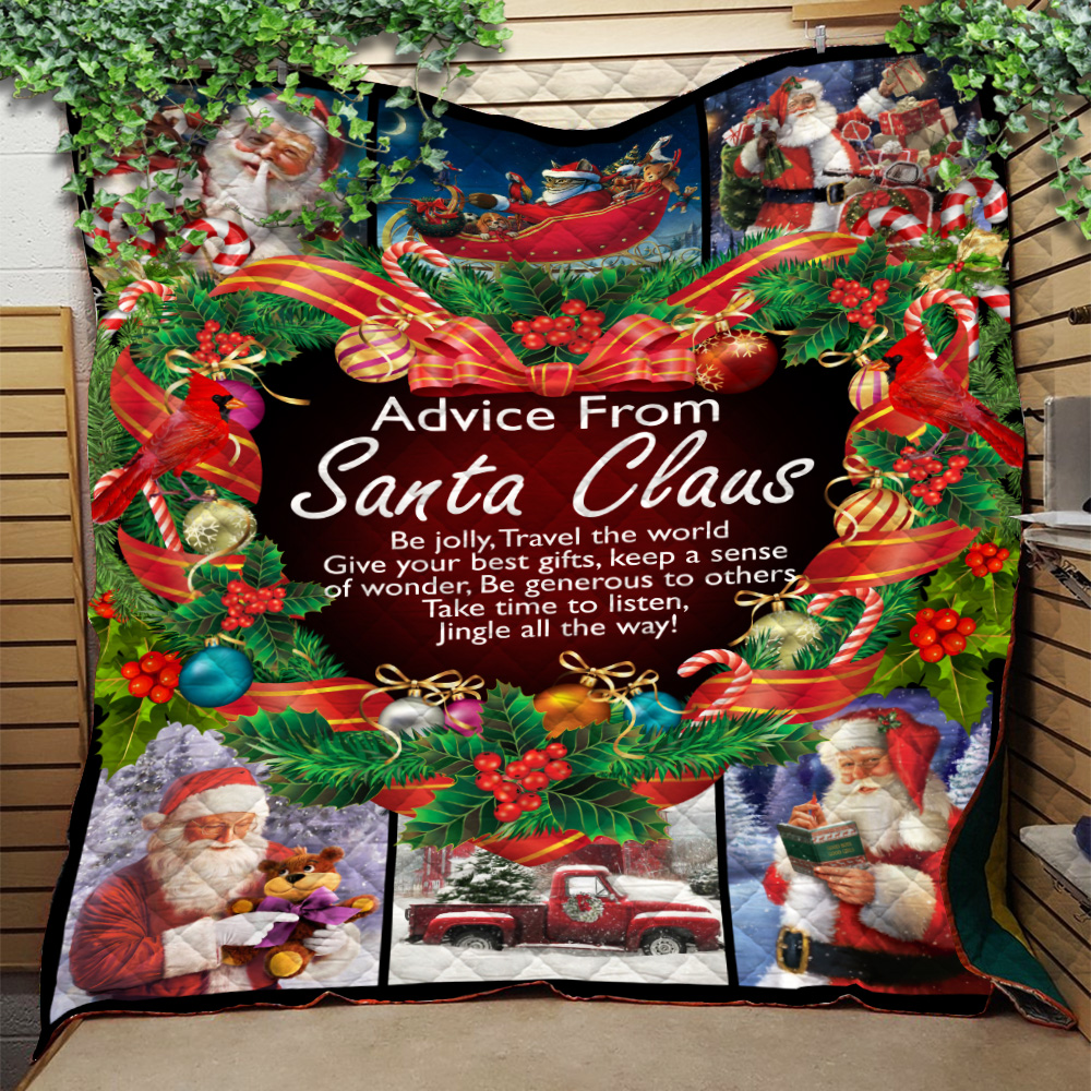 Personalized Quilt Throw Blanket Advice From Santa Claus Pattern 1 Lightweight Super Soft Cozy For Decorative Couch Sofa Bed