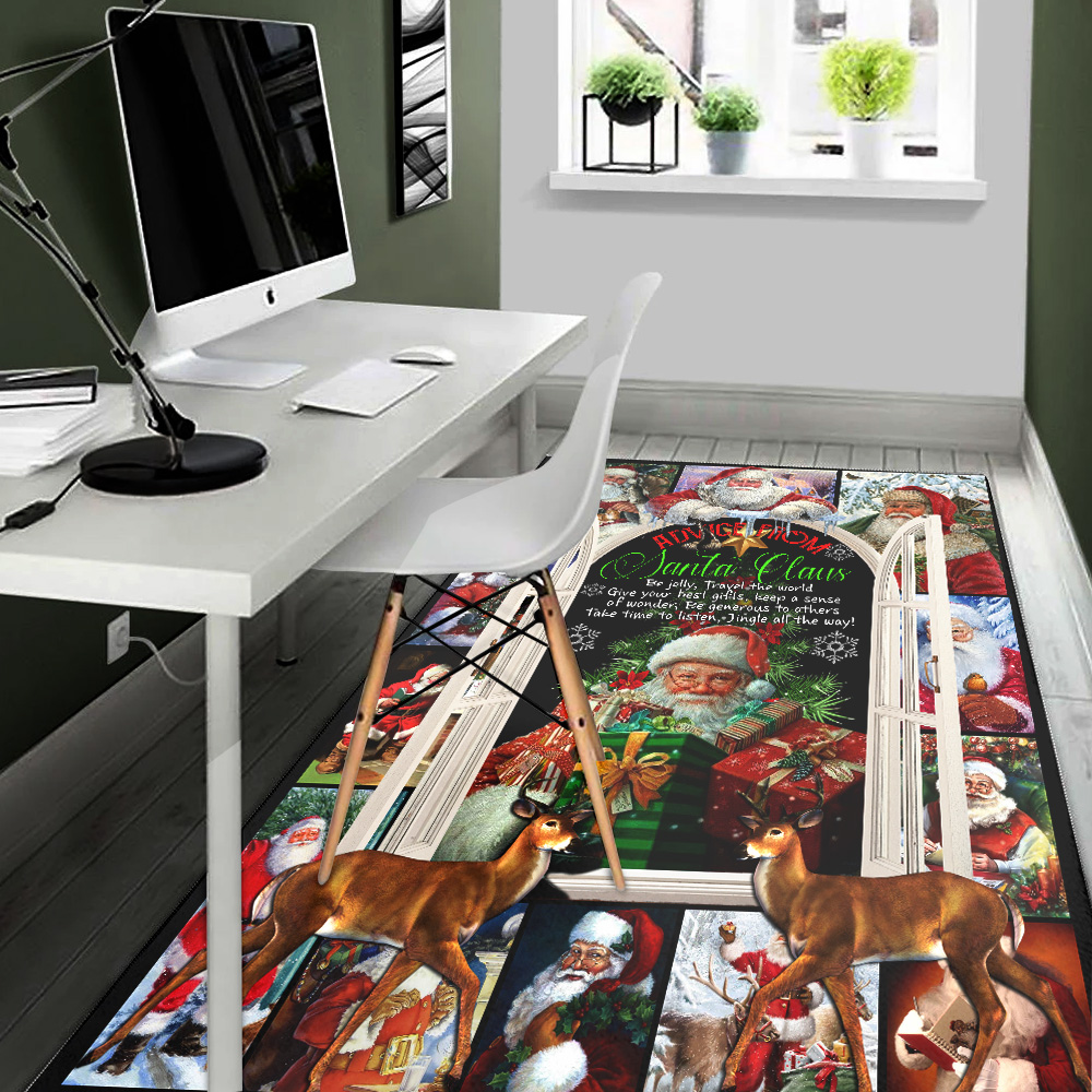 Personalized Advice From Santa Claus Pattern 2 Vintage Area Rug Anti-Skid Floor Carpet For Living Room Dinning Room Bedroom Office
