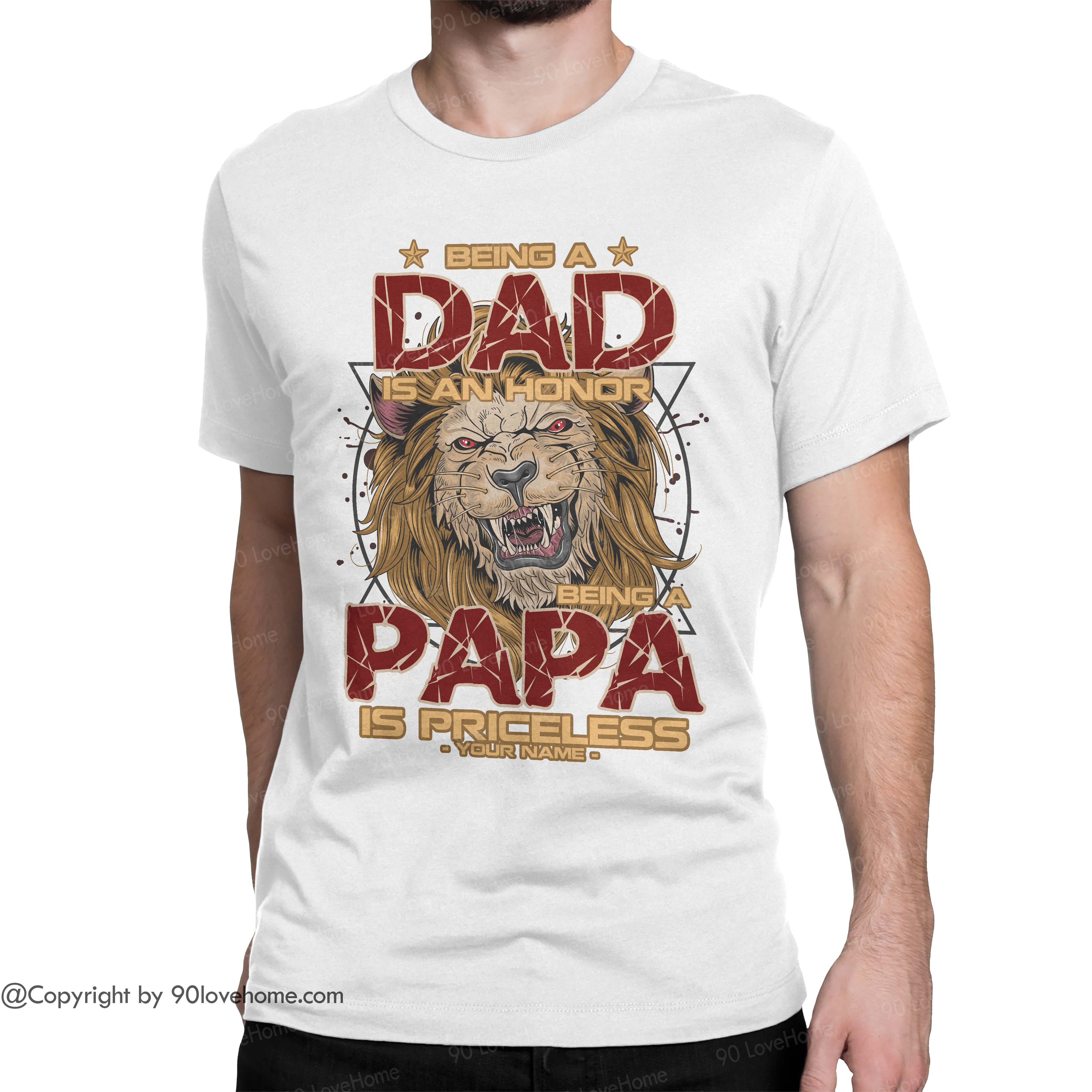 Customized Being A Dad Is An Honor Unisex T-shirt Funny Dad Quote Tee Father's Day Birthday Gift For Dad 90LoveHome
