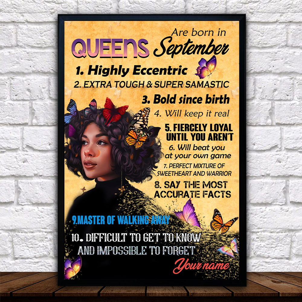 Personalized Wall Art Poster Queens Are Born In September Pattern 1 Prints Decoracion Wall Art Picture Living Room Wall