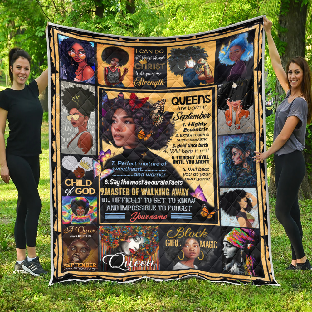 Personalized Quilt Throw Blanket Queens Are Born In September Pattern 1 Lightweight Super Soft Cozy For Decorative Couch Sofa Bed