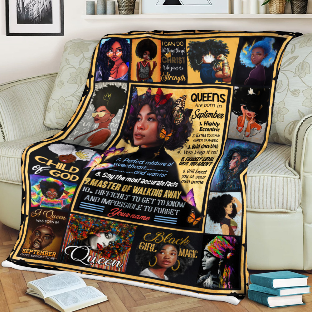 Personalized Fleece Throw Blanket Queens Are Born In September Pattern 1 Lightweight Super Soft Cozy For Decorative Couch Sofa Bed