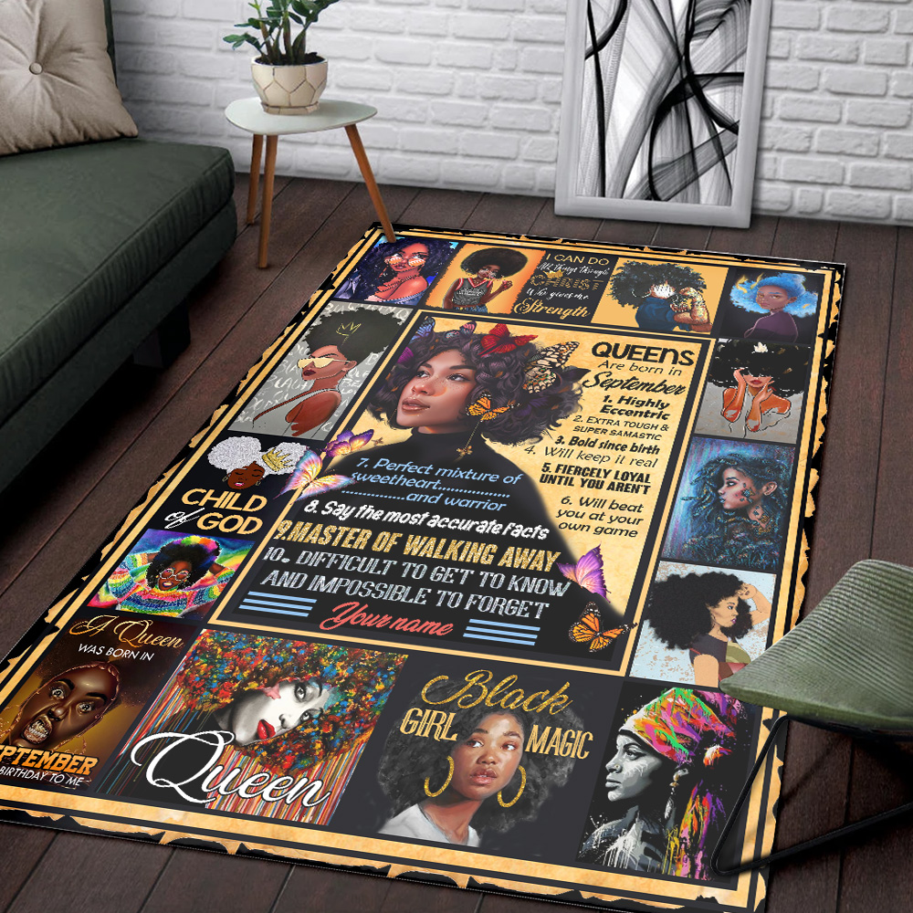 Personalized Queens Are Born In September Pattern 1 Vintage Area Rug Anti-Skid Floor Carpet For Living Room Dinning Room Bedroom Office