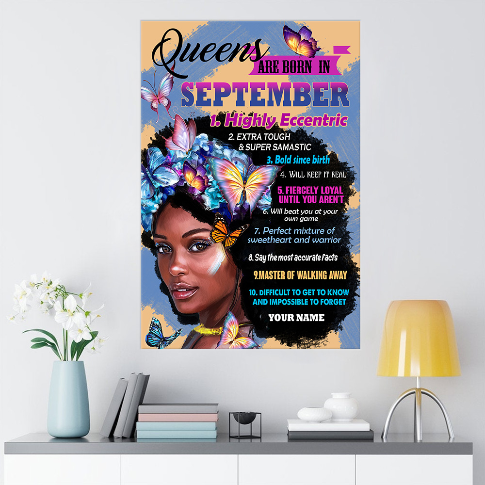 Personalized Wall Art Poster Queens Are Born In September Pattern 2 Prints Decoracion Wall Art Picture Living Room Wall
