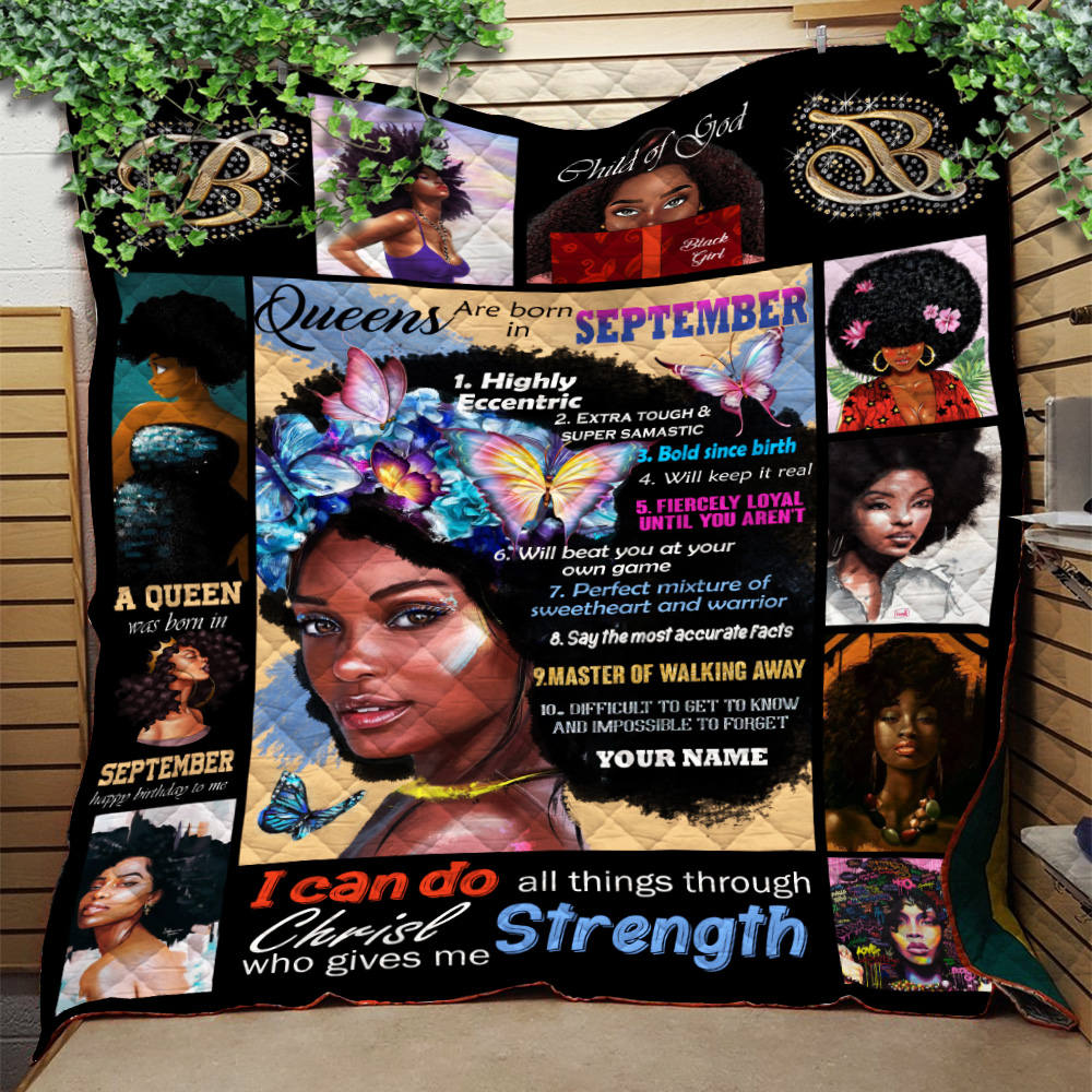 Personalized Quilt Throw Blanket Queens Are Born In September Pattern 2 Lightweight Super Soft Cozy For Decorative Couch Sofa Bed