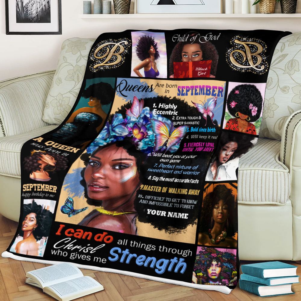 Personalized Fleece Throw Blanket Queens Are Born In September Pattern 2 Lightweight Super Soft Cozy For Decorative Couch Sofa Bed