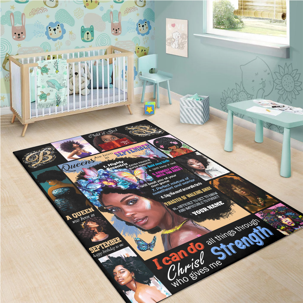 Personalized Queens Are Born In September Pattern 2 Vintage Area Rug Anti-Skid Floor Carpet For Living Room Dinning Room Bedroom Office