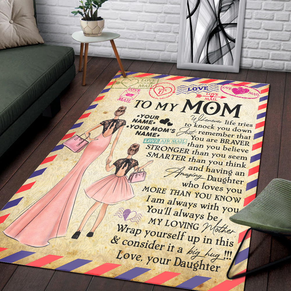 Personalized Lovely To My Mom You Are Braver Than You Believe Pattern 2 Vintage Area Rug Anti-Skid Floor Carpet For Living Room Dinning Room Bedroom Office