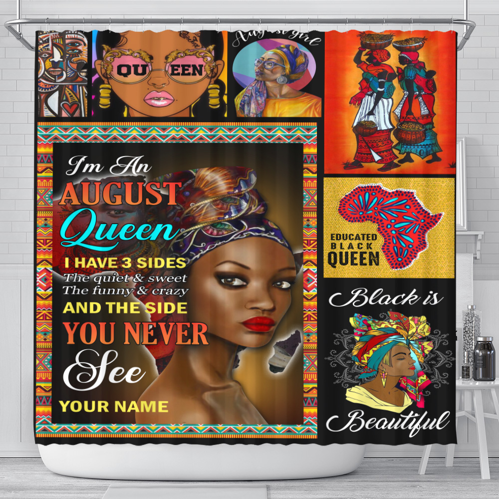 Personalized Shower Curtain I'm An August Queen I Have 3 Sides Pattern 2 Set 12 Hooks Decorative Bath Modern Bathroom Accessories Machine Washable
