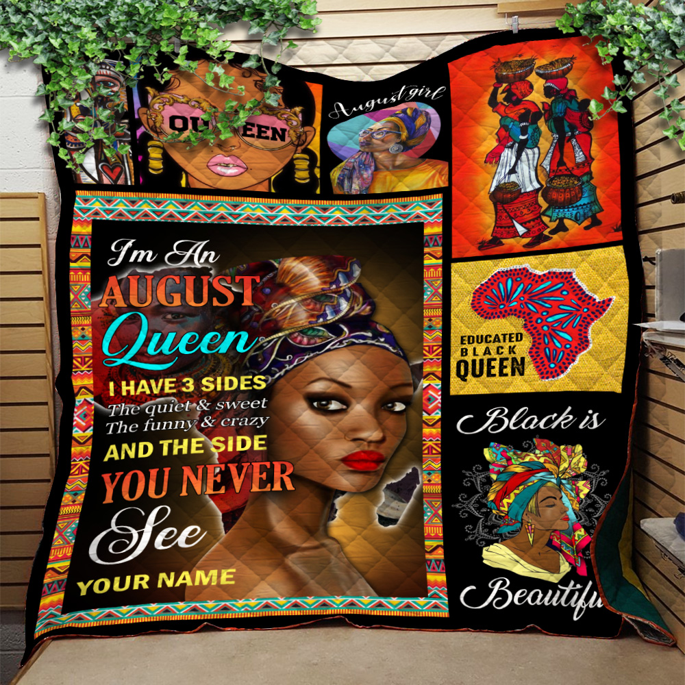 Personalized Quilt Throw Blanket I'm An August Queen I Have 3 Sides Pattern 2 Lightweight Super Soft Cozy For Decorative Couch Sofa Bed
