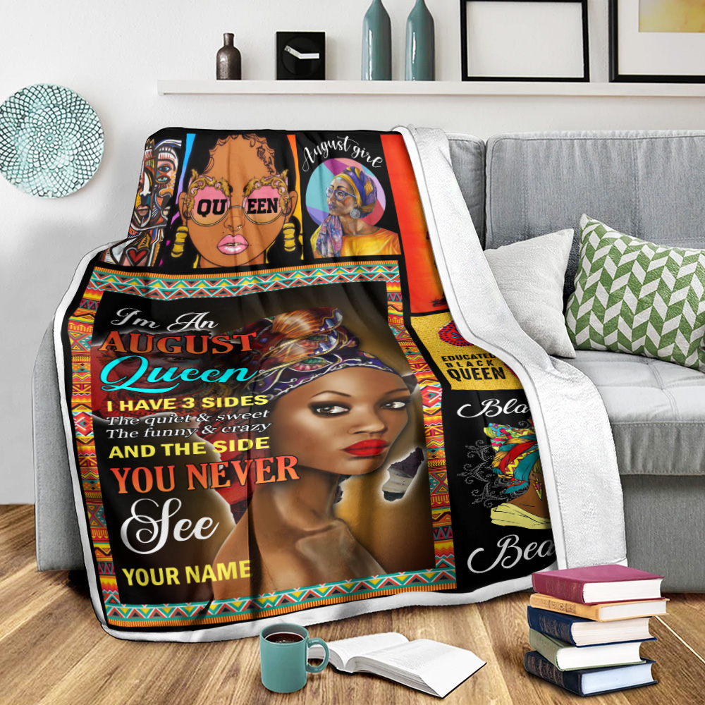 Personalized Fleece Throw Blanket I'm An August Queen I Have 3 Sides Pattern 2 Lightweight Super Soft Cozy For Decorative Couch Sofa Bed