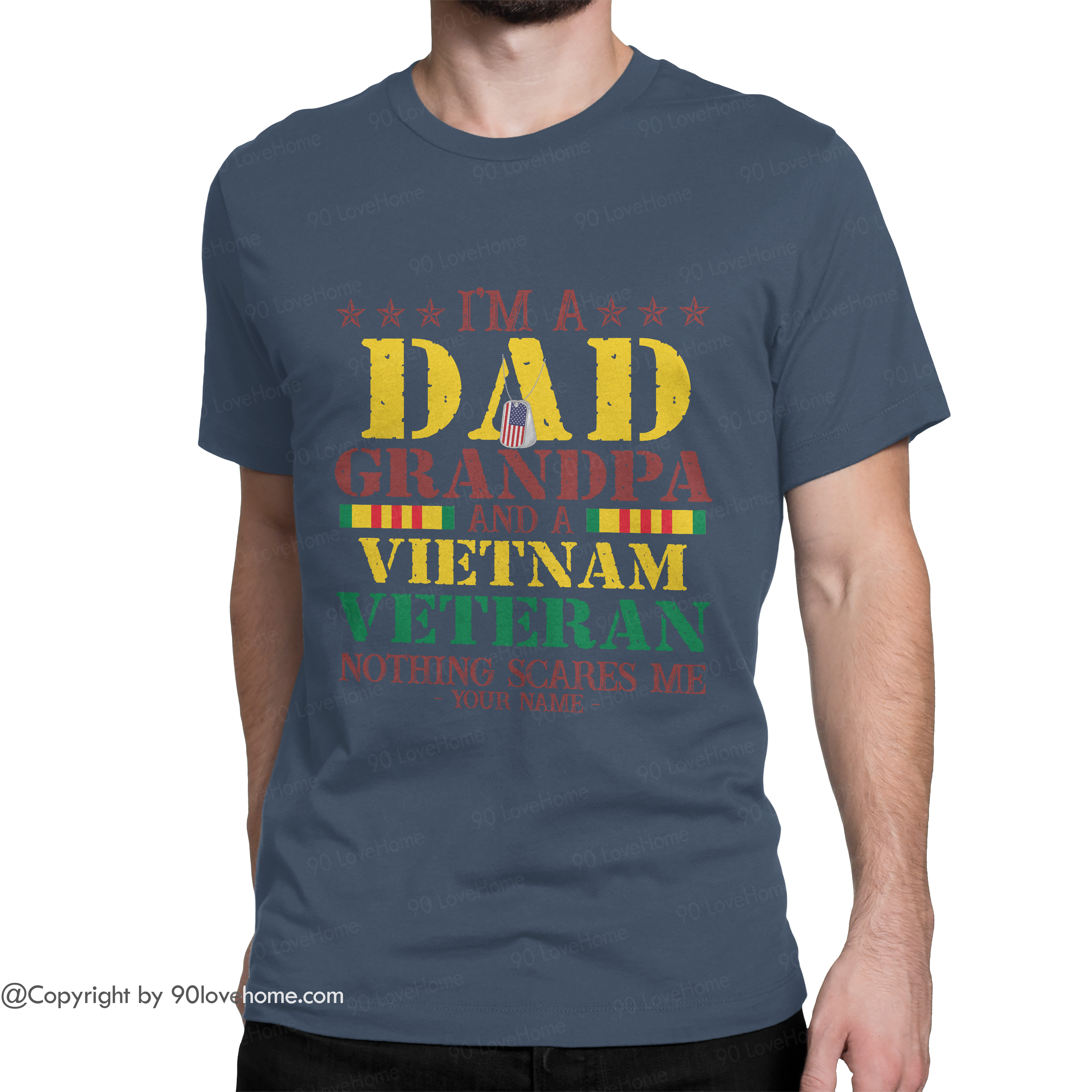Dad T Shirt Customized I'm A Dad Grandpa Vietnam Veteran Unisex T-shirt US Flag Army Dad Tee 4th of July Father's Day Birthday Gift For Grandpa Dad 90LoveHome