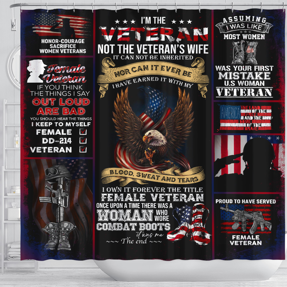 Personalized Shower Curtain 71 X 71 Inch I'm The Veteran Not The Veteran's Wife Pattern 2 Set 12 Hooks Decorative Bath Modern Bathroom Accessories Machine Washable