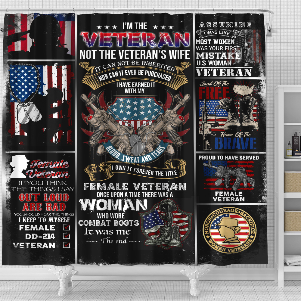 Personalized Shower Curtain 71 X 71 Inch I'm The Veteran Not The Veteran's Wife Pattern 1 Set 12 Hooks Decorative Bath Modern Bathroom Accessories Machine Washable