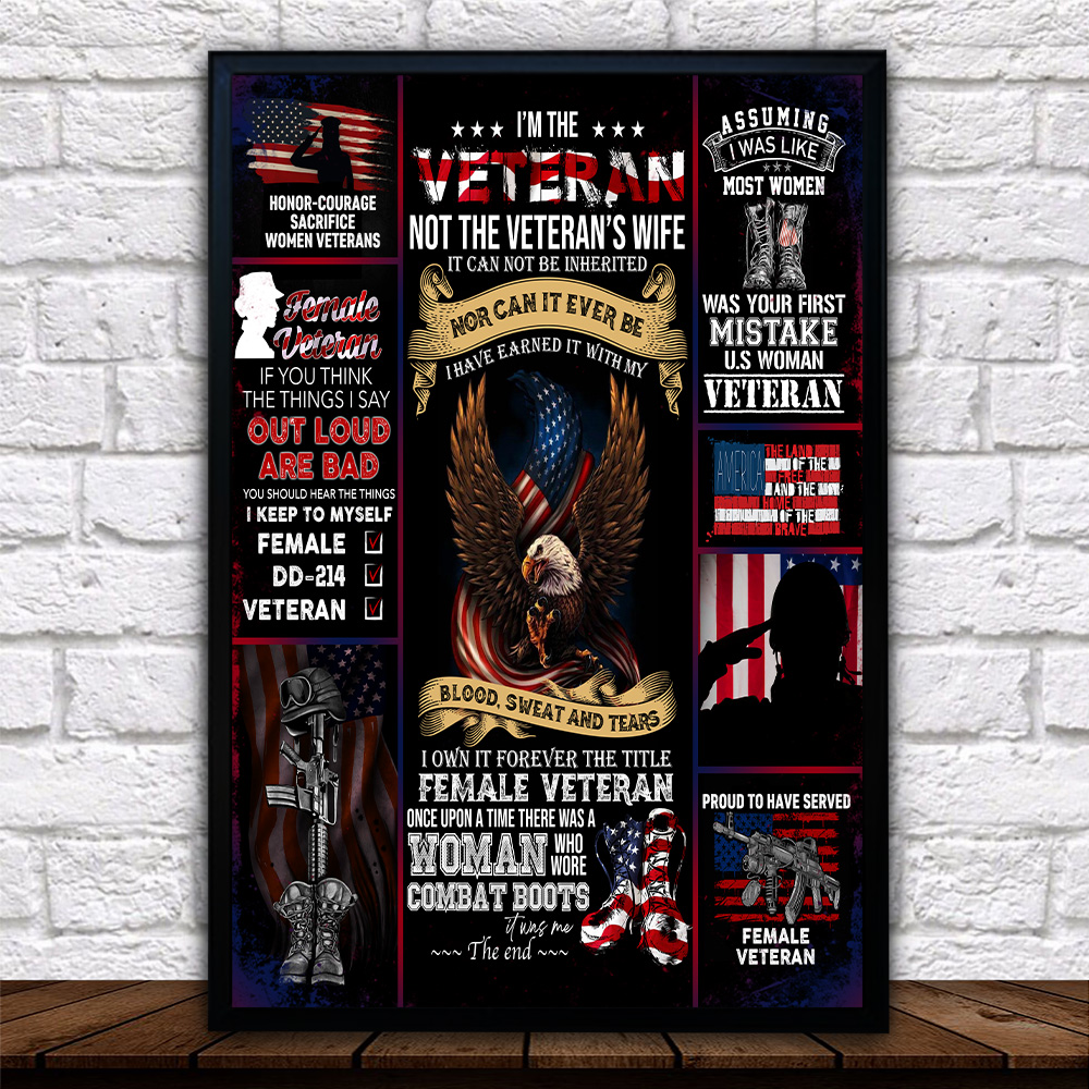 Personalized Wall Art Poster Canvas 1 Panel I'm The Veteran Not The Veteran's Wife Pattern 2 Great Idea For Living Home Decorations Birthday Christmas Aniversary