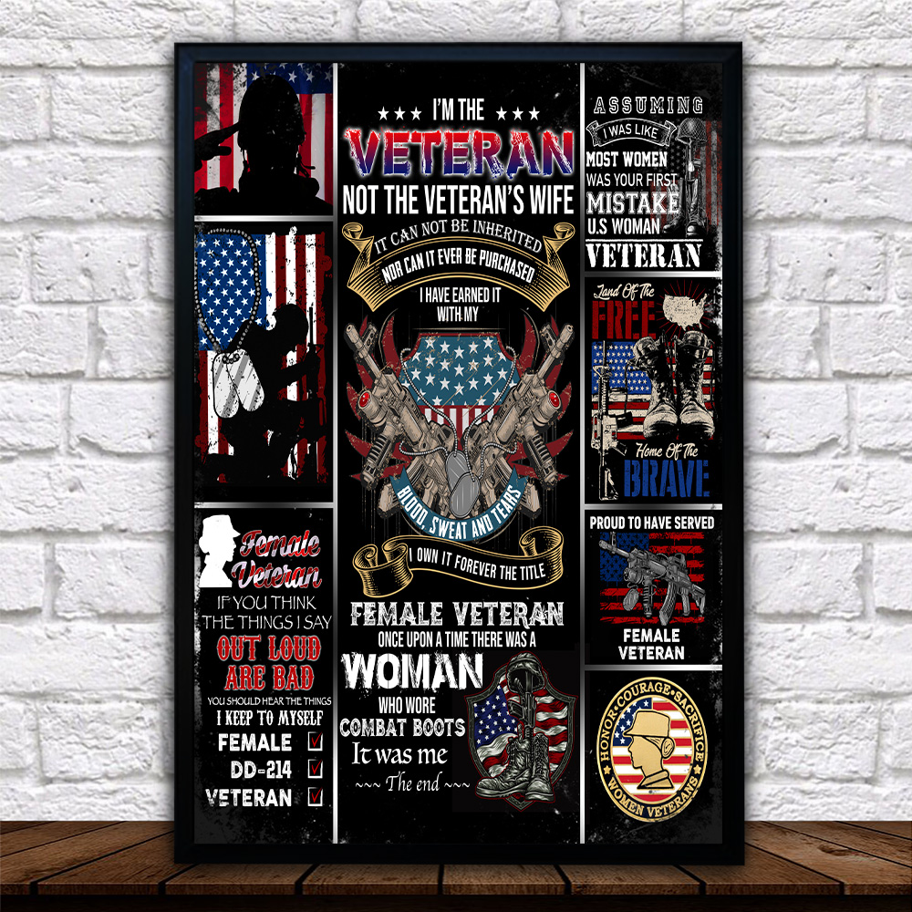 Personalized Wall Art Poster Canvas 1 Panel I'm The Veteran Not The Veteran's Wife Pattern 1 Great Idea For Living Home Decorations Birthday Christmas Aniversary