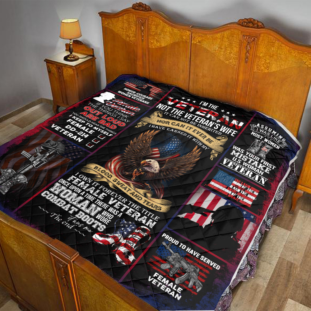 Personalized Quilt Throw Blanket I'm The Veteran Not The Veteran's Wife Pattern 2 Lightweight Super Soft Cozy For Decorative Couch Sofa Bed