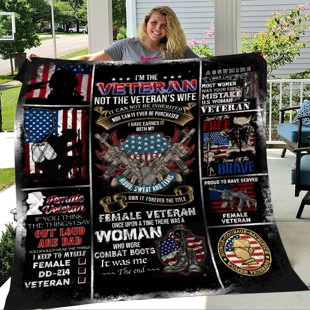 Personalized Quilt Throw Blanket I'm The Veteran Not The Veteran's Wife Pattern 1 Lightweight Super Soft Cozy For Decorative Couch Sofa Bed