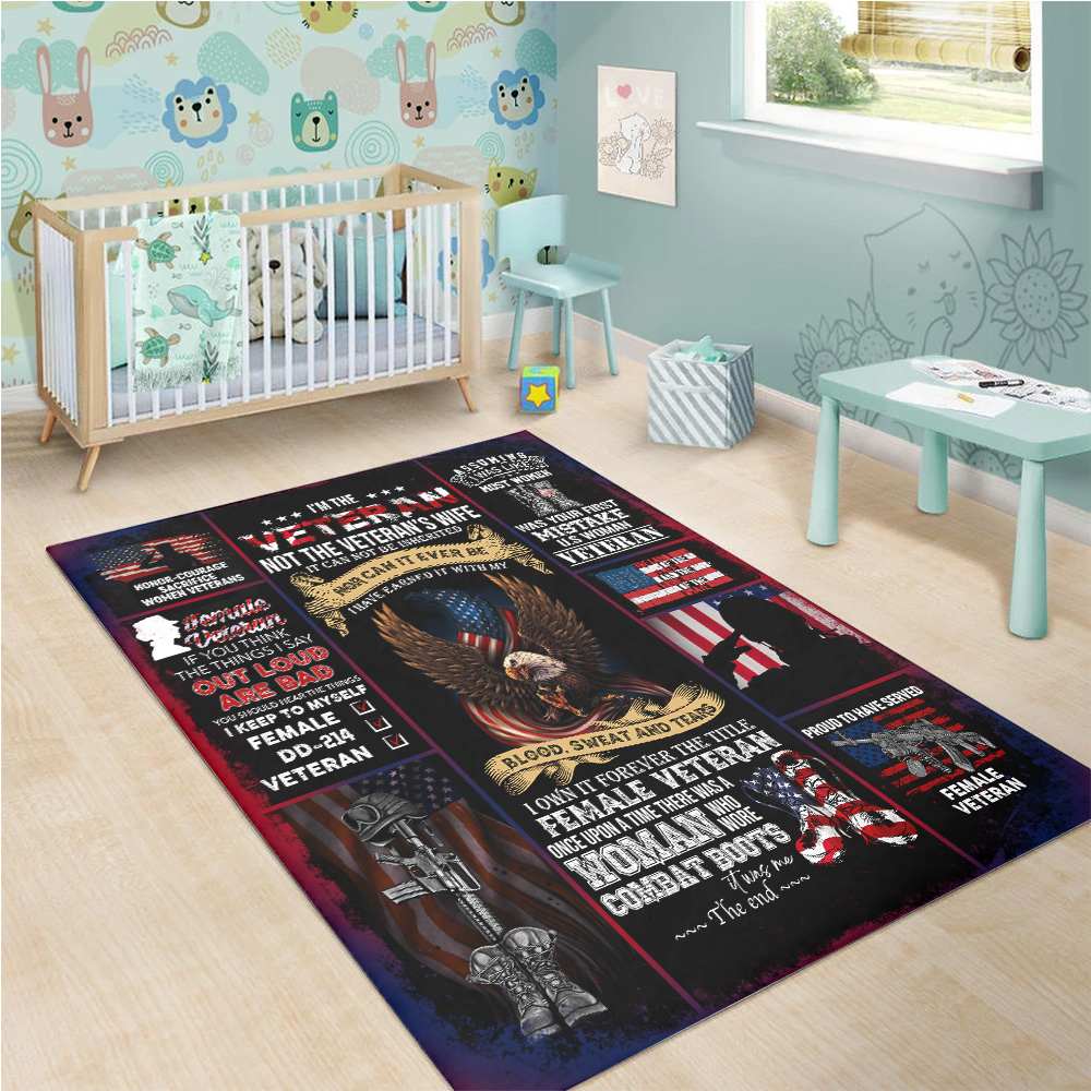 Personalized Floor Area Rugs I'm The Veteran Not The Veteran's Wife Pattern 2 Indoor Home Decor Carpets Suitable For Children Living Room Bedroom Birthday Christmas Aniversary