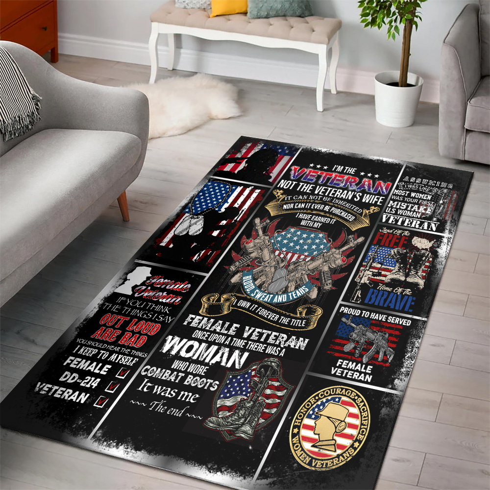 Personalized Floor Area Rugs I'm The Veteran Not The Veteran's Wife Pattern 1 Indoor Home Decor Carpets Suitable For Children Living Room Bedroom Birthday Christmas Aniversary