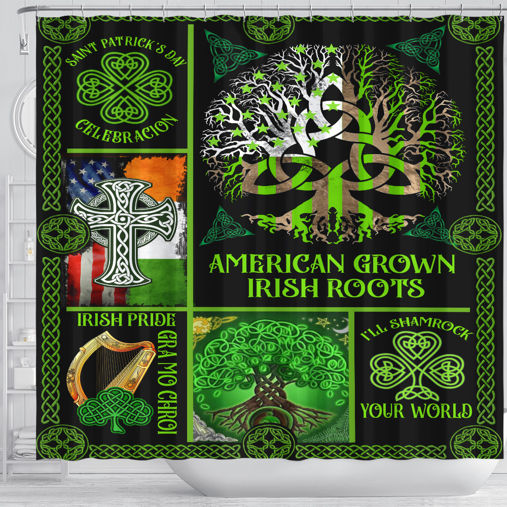 Personalized Lovely Shower Curtain St Patrick's Day Irish Blood Run Through My Veins Pattern 1 Set 12 Hooks Decorative Bath Modern Bathroom Accessories Machine Washable