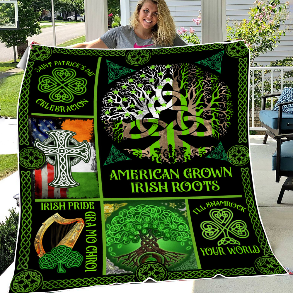 Personalized Lovely Fleece Throw Blanket St Patrick's Day Irish Blood Run Through My Veins Pattern 1 Lightweight Super Soft Cozy For Decorative Couch Sofa Bed