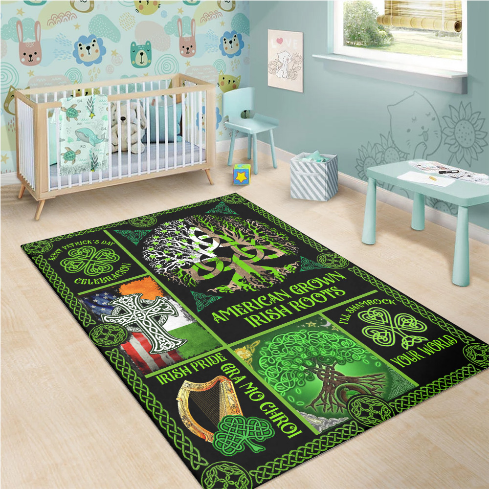 Personalized Lovely Rectangle Rug St Patrick's Day Irish Blood Run Through My Veins Pattern 1 Vintage Area Rug Anti-Skid Floor Carpet For Living Room Dinning Room Bedroom Office