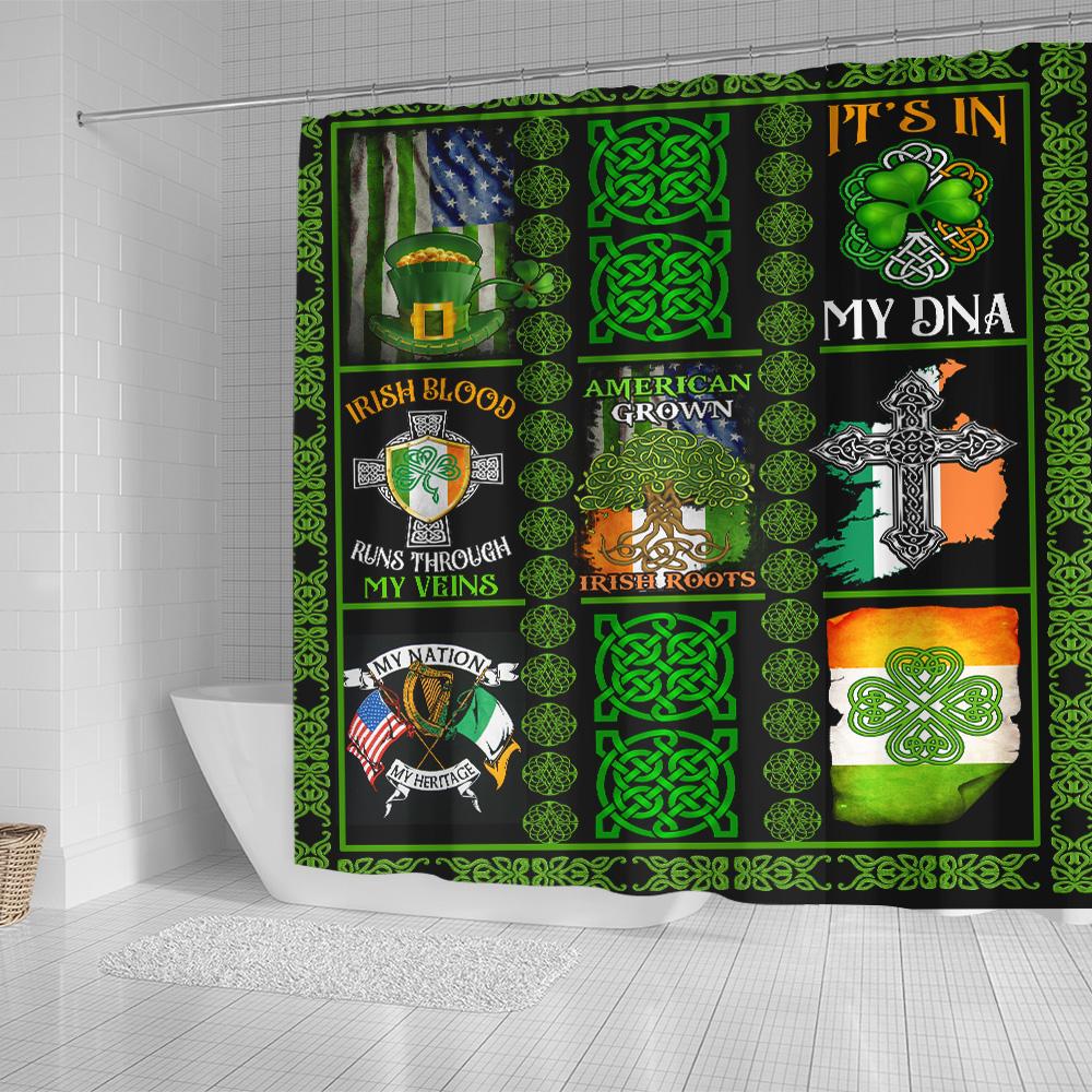Personalized Lovely Shower Curtain St Patrick's Day Irish Blood Run Through My Veins Pattern 2 Set 12 Hooks Decorative Bath Modern Bathroom Accessories Machine Washable