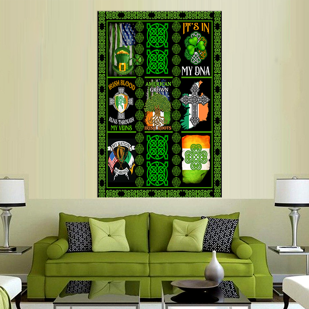 Personalized Lovely Wall Art Poster St Patrick's Day Irish Blood Run Through My Veins Pattern 2 Prints Decoracion Wall Art Picture Living Room Wall