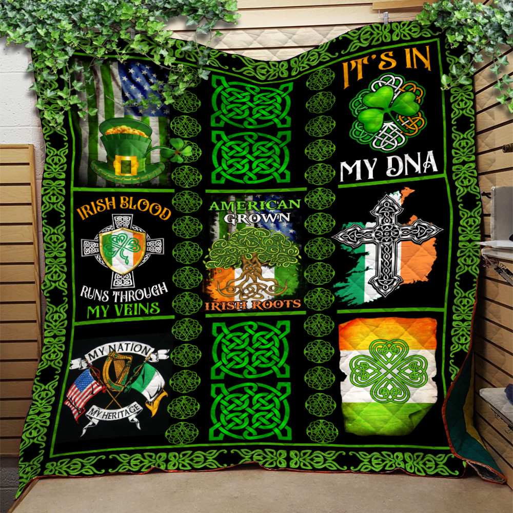 Personalized Lovely Quilt Throw Blanket St Patrick's Day Irish Blood Run Through My Veins Pattern 2 Lightweight Super Soft Cozy For Decorative Couch Sofa Bed