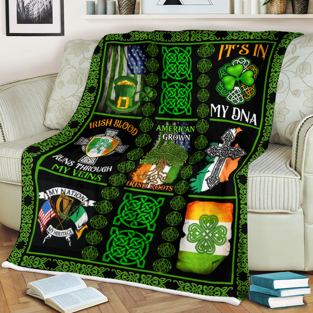 Personalized Lovely Fleece Throw Blanket St Patrick's Day Irish Blood Run Through My Veins Pattern 2 Lightweight Super Soft Cozy For Decorative Couch Sofa Bed