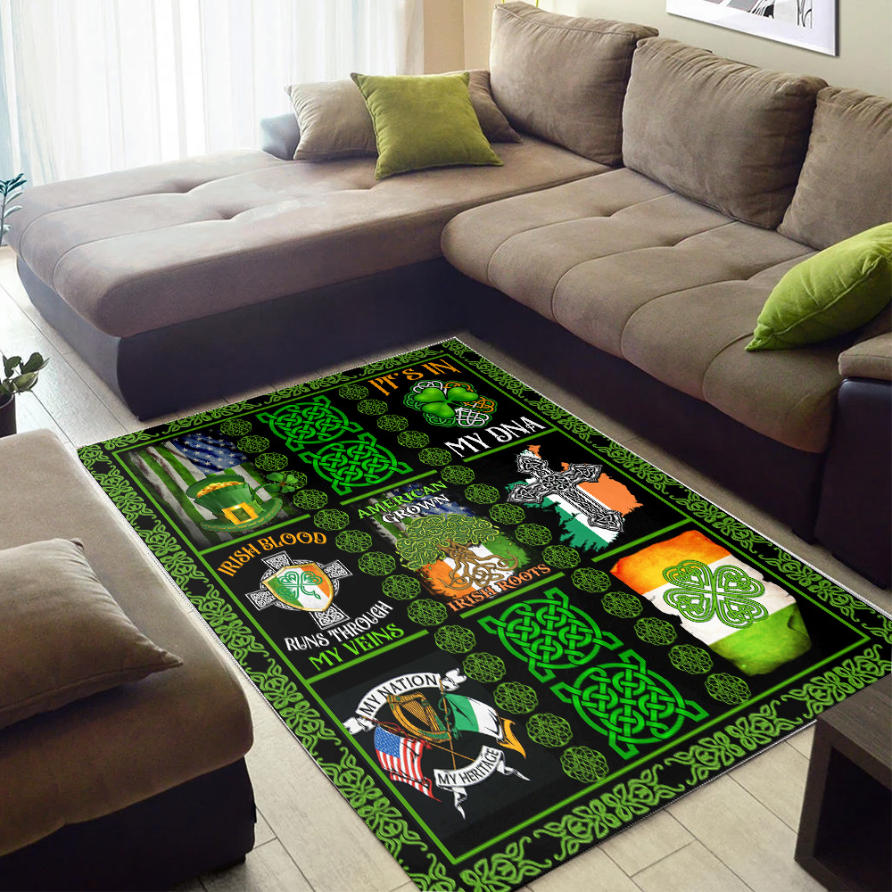 Personalized Lovely Rectangle Rug St Patrick's Day Irish Blood Run Through My Veins Pattern 2 Vintage Area Rug Anti-Skid Floor Carpet For Living Room Dinning Room Bedroom Office