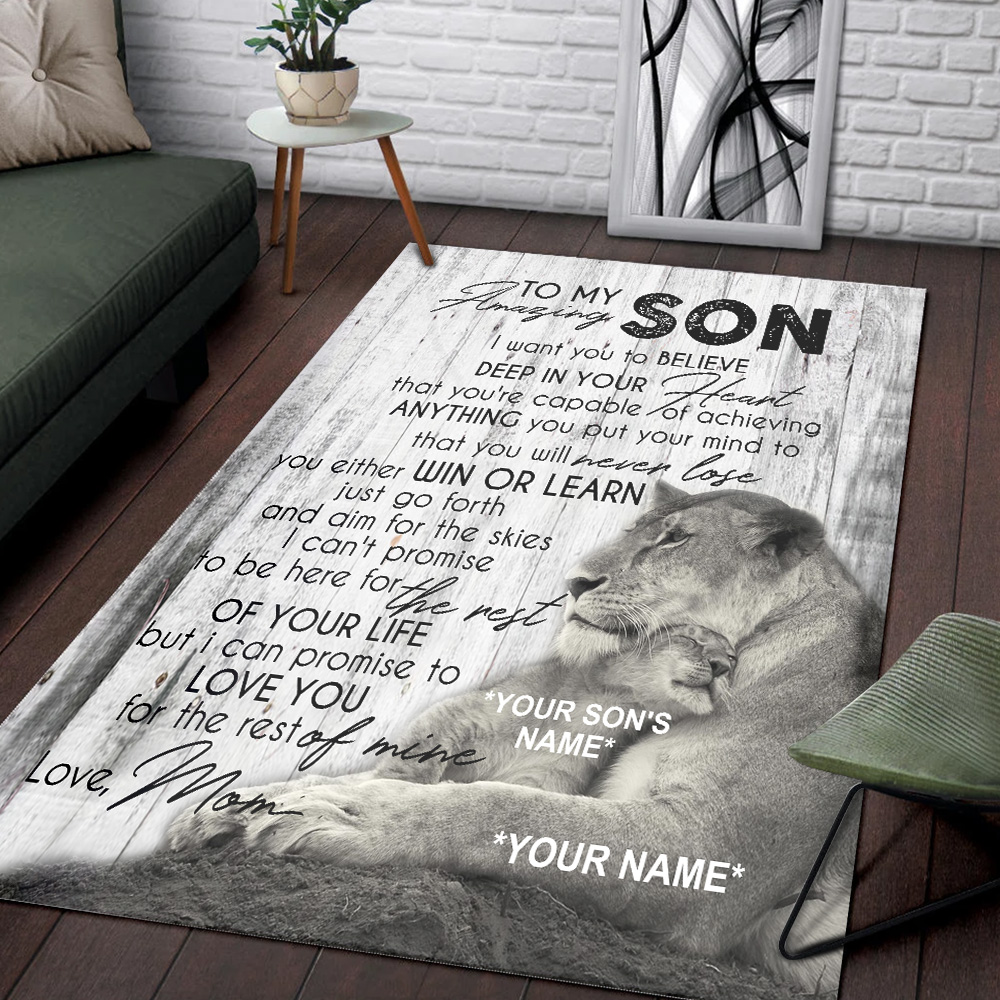 Personalized Floor Area Rugs To My Lion Son You're Capable Of Achieve Anything You Put Your Mind To Indoor Home Decor Carpets Suitable For Children Living Room Bedroom Birthday Christmas Aniversary