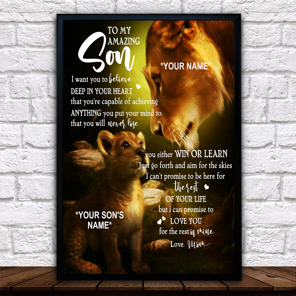 Personalized Wall Art Poster Canvas 1 Panel To My Lion Son You're Capable Of Achieve Anything You Put Your Mind To Great Idea For Living Home Decorations Birthday Christmas Aniversary